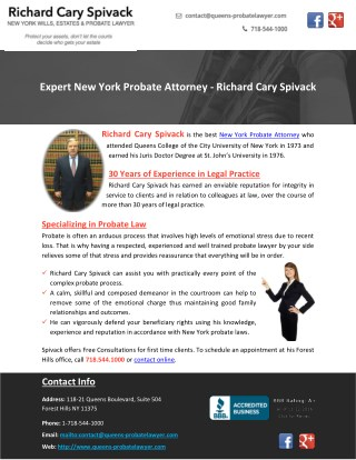 Expert New York Probate Attorney - Richard Cary Spivack