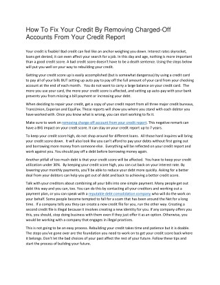 How to fix bad credit by removing charged off accounts from your credit report