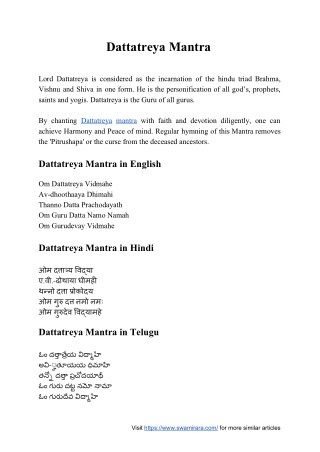 Dattatreya Mantra
