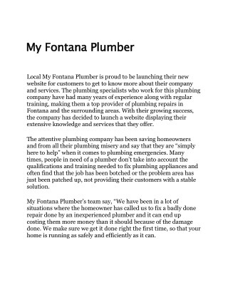 Affordable Plumbing Services - My Fontana Plumber