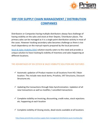 A PDF about ERP FOR SUPPLY CHAIN MANAGEMENT / DISTRIBUTION COMPANIES