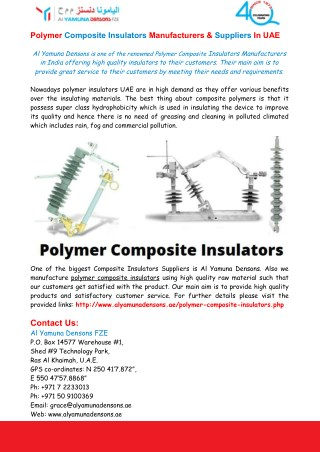 Polymer Composite Insulators Manufacturers & Suppliers In UAE