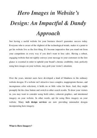 Hero Images in Website's Design - An Impactful & Dandy Approach
