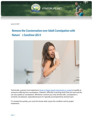 Remove the Consternation over Adult Constipation with Nature's Sunshine LBS II
