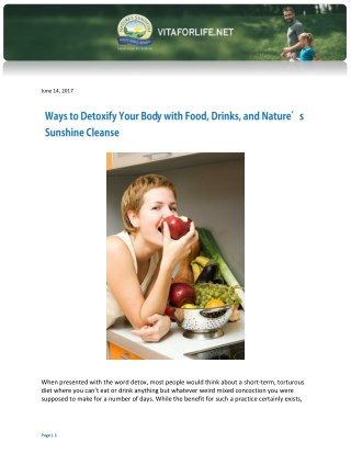 Ways to Detoxify Your Body with Food, Drinks, and Nature's Sunshine Cleanse