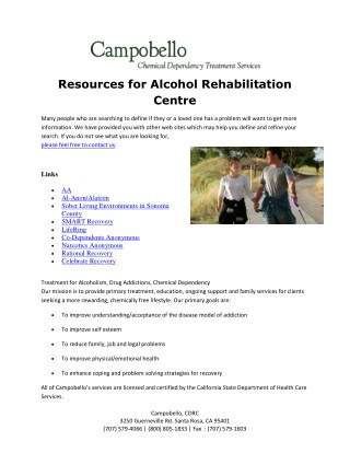 Resources Alcohol Recovery - Campobello Residential Campus