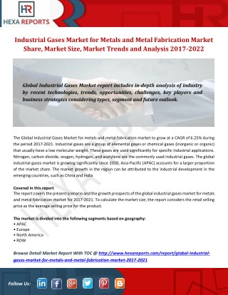 Industrial Gases Market for Metals and Metal Fabrication Market Share, Market Size, Market Trends and Analysis 2017-2021