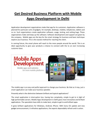 Get Desired Business Platform with Mobile Apps Development in Delhi Application