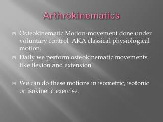 Arthrokinematics