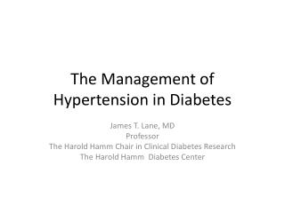 The Management of Hypertension in Diabetes