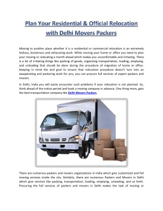 Plan Your Residential & Official Relocation with Delhi Movers Packers