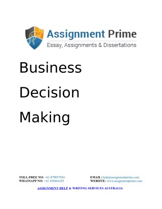 Sample Assignment: Business Decision Making in an Organization