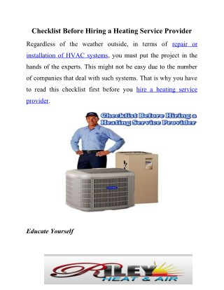 Tips to select heating service provider