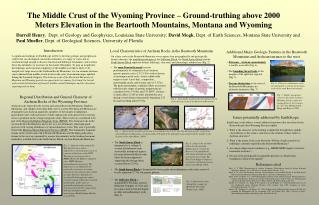 The Middle Crust of the Wyoming Province   Ground-truthing above 2000 Meters Elevation in the Beartooth Mountains, Monta