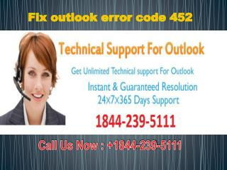 Fix outlook error code 452 #1-844-239-5111