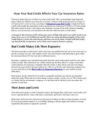 How Your Bad Credit Affects Your Car Insurance Rates