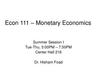 Econ 111   Monetary Economics