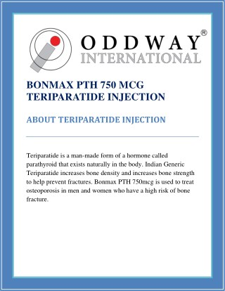 Bonmax PTH Teriparatide 750 Mcg Injection | Osteoporosis Medicines Wholesale Supplier