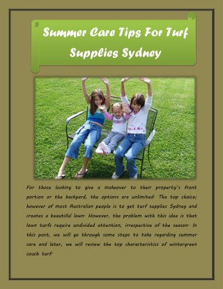 Summer Care Tips For Turf Supplies Sydney