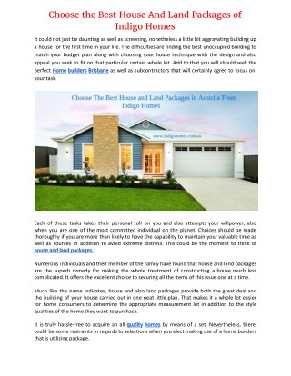 Choose the Best House And Land Packages of Indigo Homes