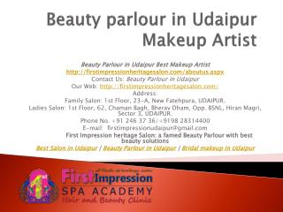 Beauty Parlour in Udaipur Makeup artist