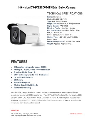 Specifications of Hikvision DS-2CE16D0T-IT5 HD Bullet CCTV Camera