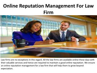 Online Reputation Management For Law Firm