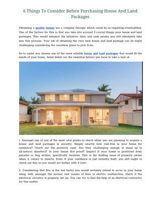 6 Things To Consider Before Purchasing House And Land Packages