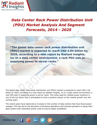 Data Center Rack Power Distribution Unit (PDU) Market Growth, Scope and Overview Report 2014 - 2025