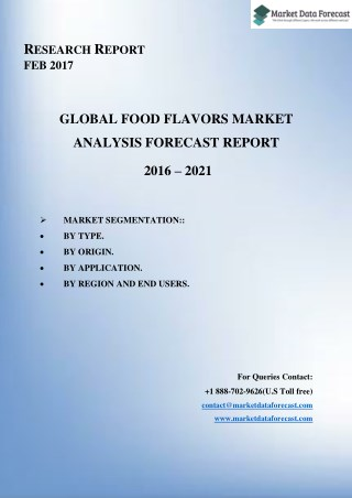 Global Food Flavors market to reach USD 16.86 Billion by 2021, at a CAGR of 5.75%