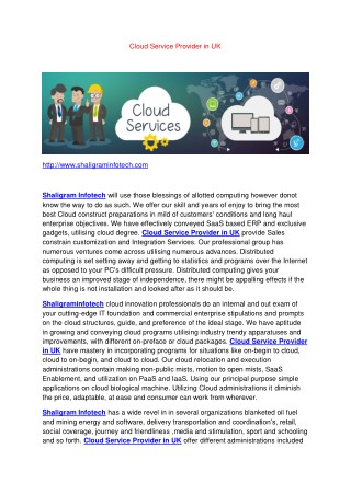 Cloud Service Provider in UK