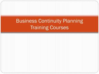 Business Continuity Planning Training Courses