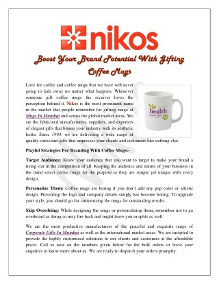 Boost Your Brand Potential With Gifting Coffee Mugs