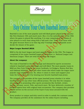 Buy Online Your Own Baseball Jersey