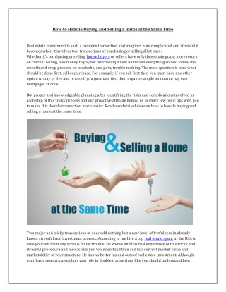 How to Handle Buying and Selling a Home at the Same Time