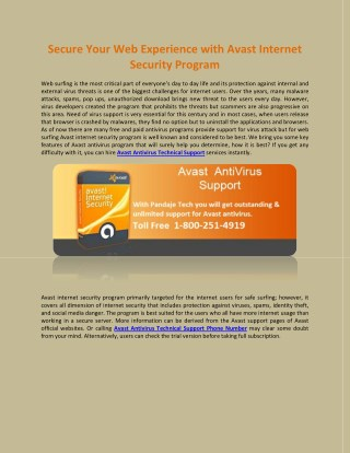 Secure Your Web Experience with Avast Internet Security Program
