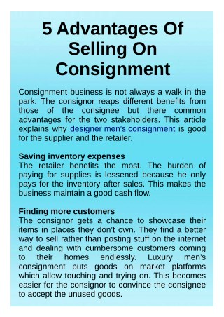 Mens Consignment