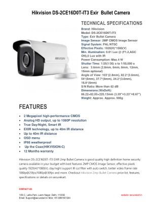 Hikvision DS-2CE16D0T-IT3 EXIR 2mp Bullet Camera