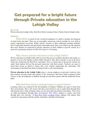 Get prepared for a bright future through Private education in the Lehigh Valley