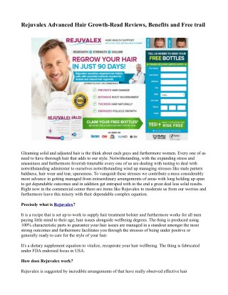 Rejuvalex Advanced Hair Growth-Read Reviews, Benefits and Free trail