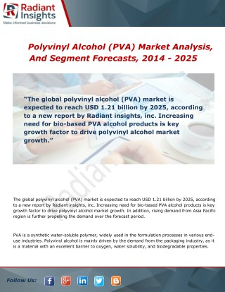 Polyvinyl Alcohol (PVA) Market Analysis, Growth and Overview Report To 2014 - 2025