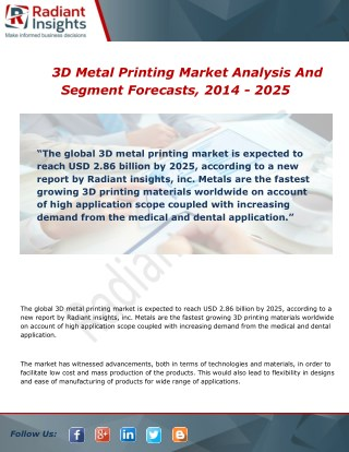 3D Metal Printing Market Analysis, Growth and Overview Report To 2014 - 2025