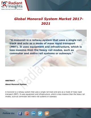 Global Monorail System Market Analysis, Growth and Overview Report To 2017-2021
