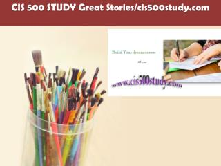 CIS 500 STUDY Great Stories/cis500study.com