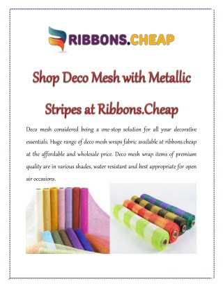 Shop Deco Mesh with Metallic Stripes at Ribbons.Cheap