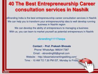 40 The Best Entrepreneurship Career consultation services in Nashik