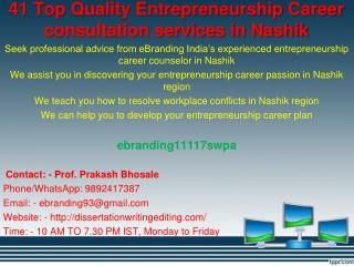 41 Top Quality Entrepreneurship Career consultation services in Nashik