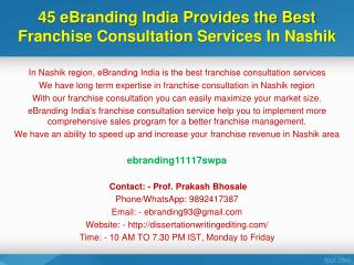 45 eBranding India Provides the Best Franchise Consultation Services In Nashik