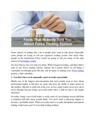 Facts That Nobody Told You About Forex Trading System