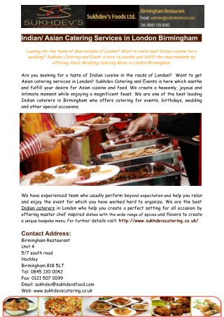 Indian Asian Catering Services in London Birmingham